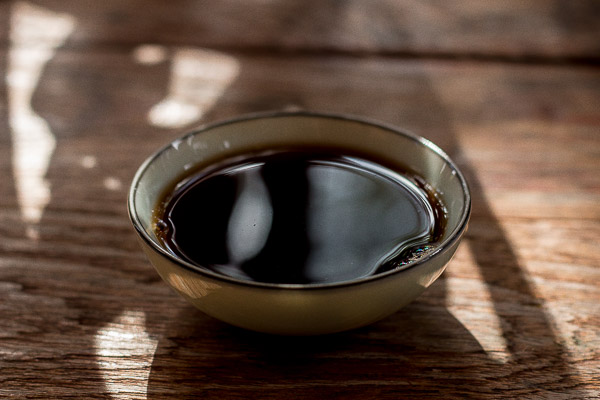 Cup of black pu-erh
