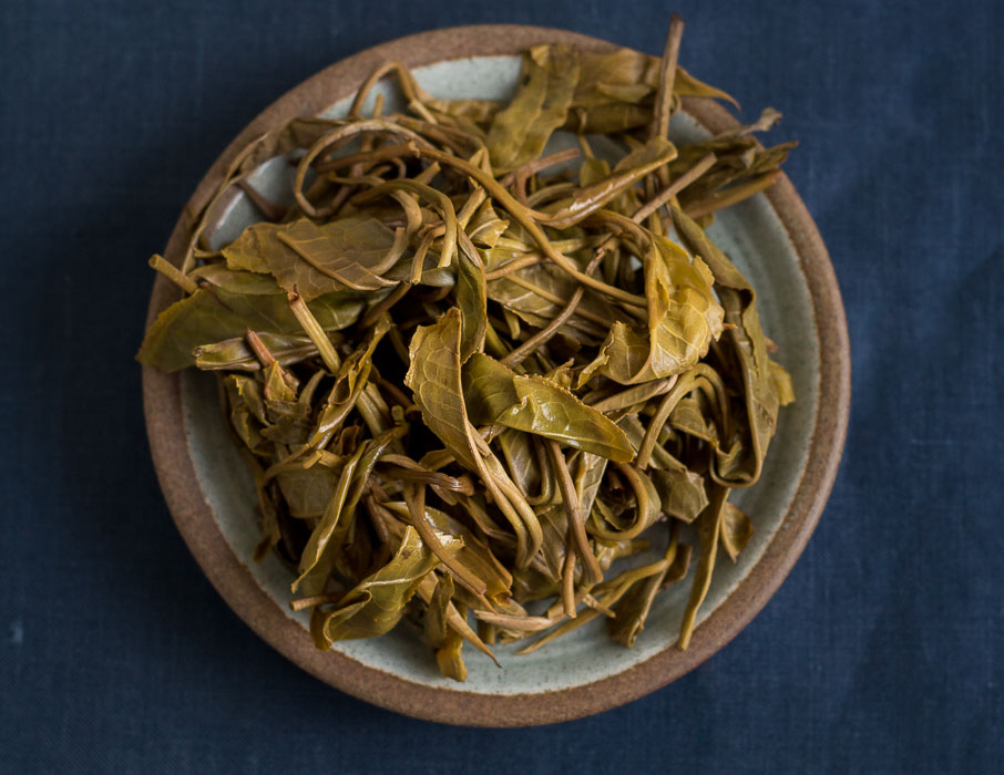 2018 Bitter Leaf Raw Pu-erh Tea - Steeped Leaves